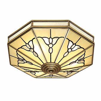 4 lumière plafonnier Flush Light antique en laiton, verre Tiffany
