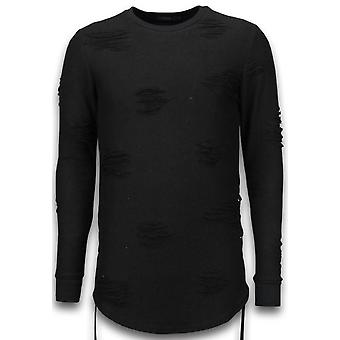 Destroyed Look Sweater-Side Laces Long Fit Sweatshirt-Black