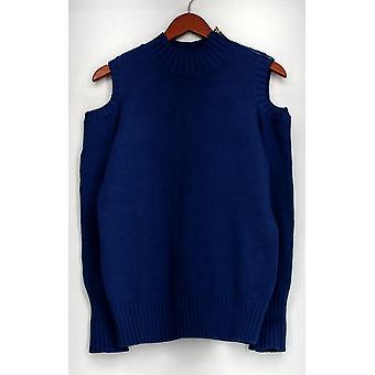 スーザン グレーバー セーター コールド ショルダー モック ネック セーター ブルー A297157
