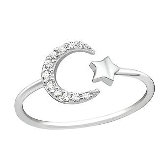 Moon And Star - 925 Livres Sterling Argent Jewelled Anneaux - W36880X