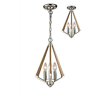 Diyas Hilton Tetragonal Pendant 3 Light E14 Polished Nickel/Taupe Wood