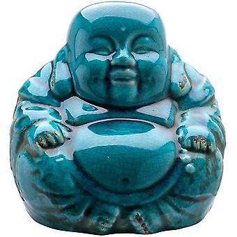 Chinese Boeddha blauw Crackle glazuur 18cm