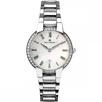 Accurist Ladies Round Mother Of Pearl Date Dial Swarovski Bezel Stainless Steel Bracelet Watch
