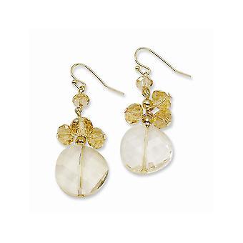 Gold tone Shepherd hook Yellow Crystal Round Long Drop Dangle Earrings Jewelry Gifts for Women