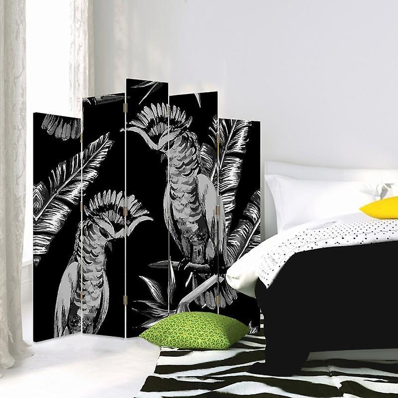 Diviseur de pièce décoratif, 5 panneaux, toile, hussards d'oiseau