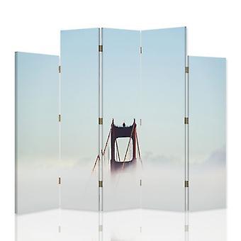 Dekorativa rumsavdelare, 5 paneler, dubbelsidig, canvas, bro i molnen 2