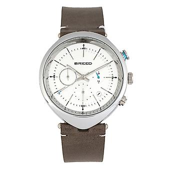 Breed Tempest Chronograph Leather-Band Watch w/Date - Grey/White