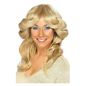 Γυναικεία ξανθιά 70s κίνηση περούκα φανταχτερό φόρεμα αξεσουάρ