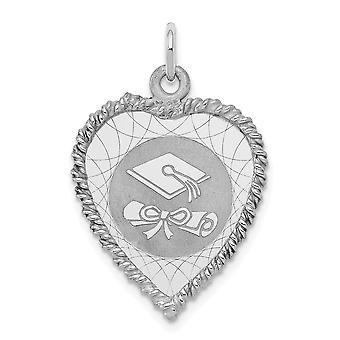 925 sterling sølv solid grave Bart graduering cap og diplom Disc Charm-1,8 gram