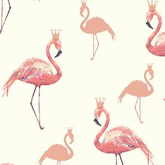 Queen Flamingo Coral Wallpaper Glitter Crown Animal Print Silhouette Arthouse