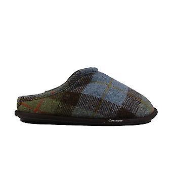 Cotswold Lidstone Navy tartan wol mens slip op mule slippers