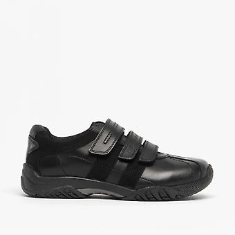 Hush Puppies Seb Boys Leather Touch Close School Shoes Black