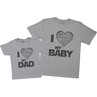 Ik hou van mijn vader & ik hou van mijn baby hart ster-mens t shirt & Kid ' s t-shirt