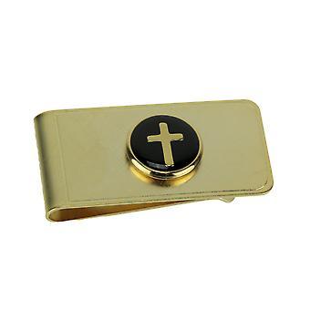 Guldpläterad Christian Cross Sedelklämma - vit