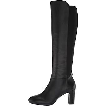 Anne Klein Womens AKSYLVIEWC Leather Stacked Heel Knee-High Boots