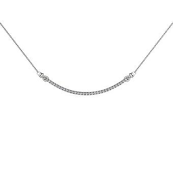 Igi certified solid 10k white gold 0.25ct natural diamond bar necklace