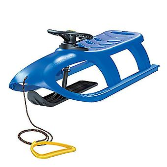Children's sled Bullet Control blue, plastic, steerable, skid, steering wheel with horn