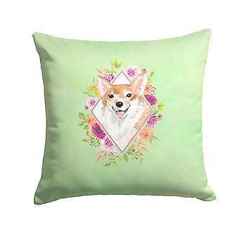 Carolines Treasures  CK4403PW1414 Corgi Green Flowers Fabric Decorative Pillow