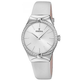 Festina klocka Miss F20388-1 - klocka stål Silver armband läder vit kvinna