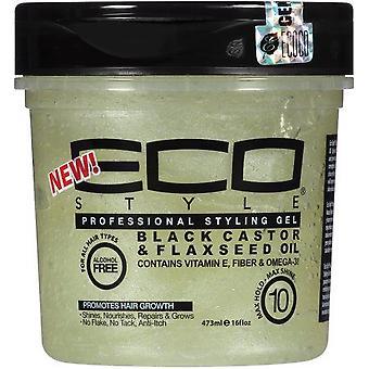 Eco Style Black Castor & Flexseed Oil Styling Gel 16oz