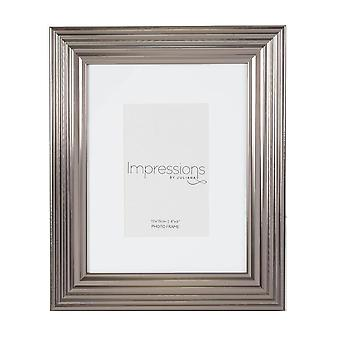 Impressions By Juliana Plastic Ribbed Pewter 4 X 6 Photo Frame