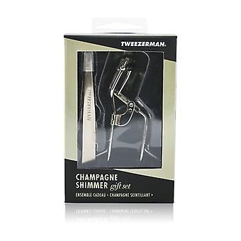 Set de regalo de champán Shimmer de tweezerman (slant Tweezer & Curl 38° Lash Curler) - 2pcs