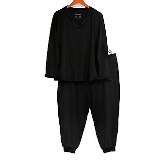 Anybody Women's Petite Pajama Set Cozy Knit With Velour Trim Black A345312