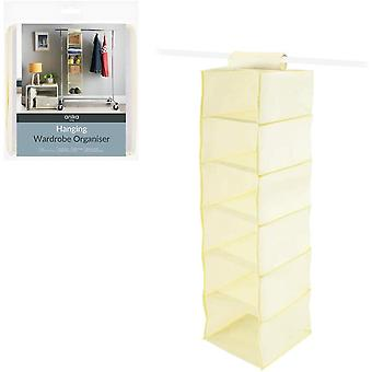 Benross Anika 6 Shelf Hanging Wardrobe Organiser Cream