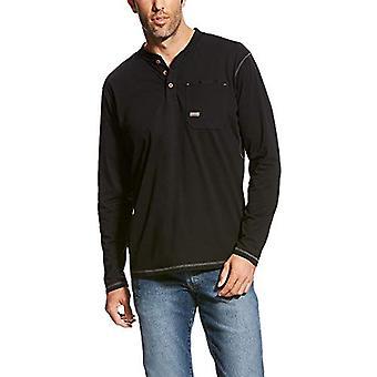 ARIAT Men's Big and Tall Rebar Pocket Long Sleeve Henley Shirt, Navy, XXX-Lar...