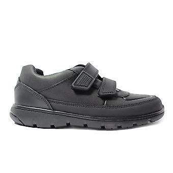 Clarks Venture Walk Black Leather Boys Rip Tape School Shoes