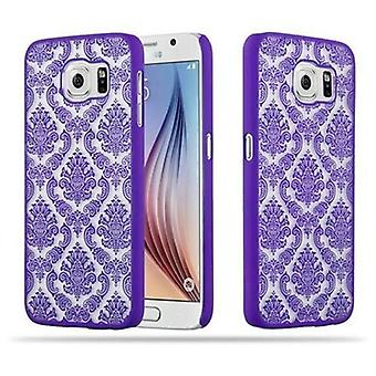 Samsung Galaxy S6 (NOT per EDGE) Custodia hardcase in LILA di Cadorabo - Flowers Paisley Henna Design Protective Case – Phone Case Bumper Back Case Cover