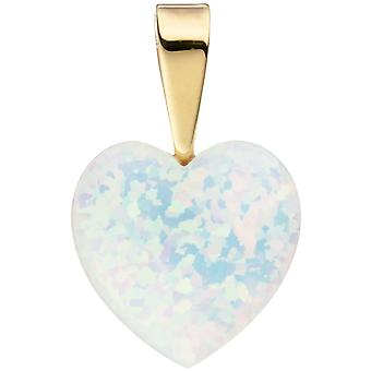 Ladies Pendant Heart 333 Gold Yellow Gold 1 Opal Heart Pendant Gold Pendant