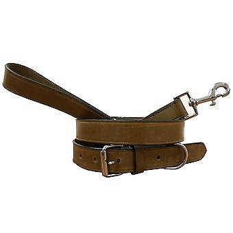 Bradley crompton genuine leather matching pair dog collar and lead set bcdc2khakibrown