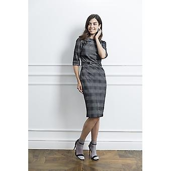 Silver checked woman dress