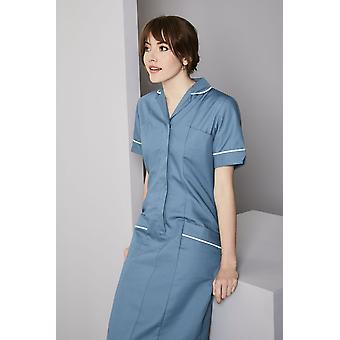 SIMON JERSEY Healthcare Dress, Turquoise With White Trim