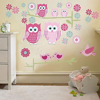 Ready Steady Bed Owls Large Removable and Repositionable Wall Stickers D�cor Decal Art