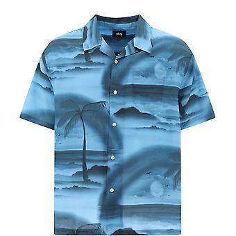 Stussy 1110096steel Men-apos;s Chemise en polyester bleu clair