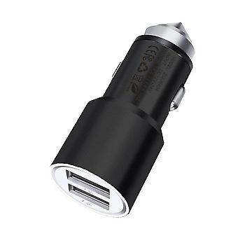 Motorola Moto E5 Play Noir Double Port Aluminium Chargeur De voiture Bullet Adaptateur (3.1AMP/24W)