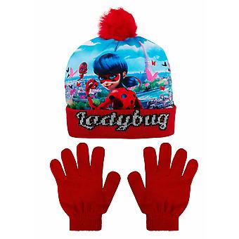 Miraculous ladybug girls hat and gloves pompom mlb4285