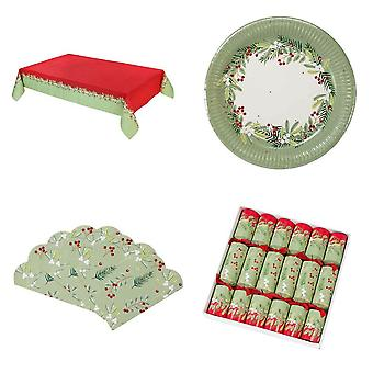 Botanical Berry Christmas Party Pack Plates Napkins Cover Crackers