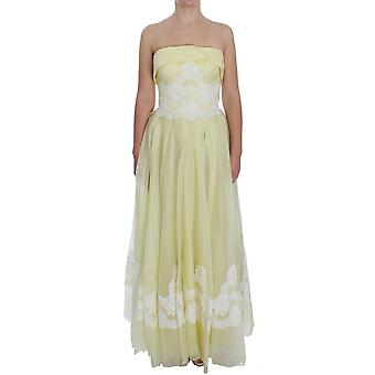 Dolce & Gabbana Yellow White Lace Silk Maxi Gown Dress NOC10173-1