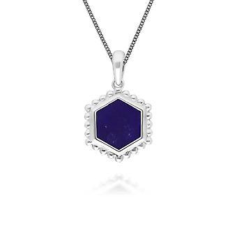 لابيس Lazuli شقة شريحة قلادة قلادة قلادة في الفضة الاسترليني 271P017303925
