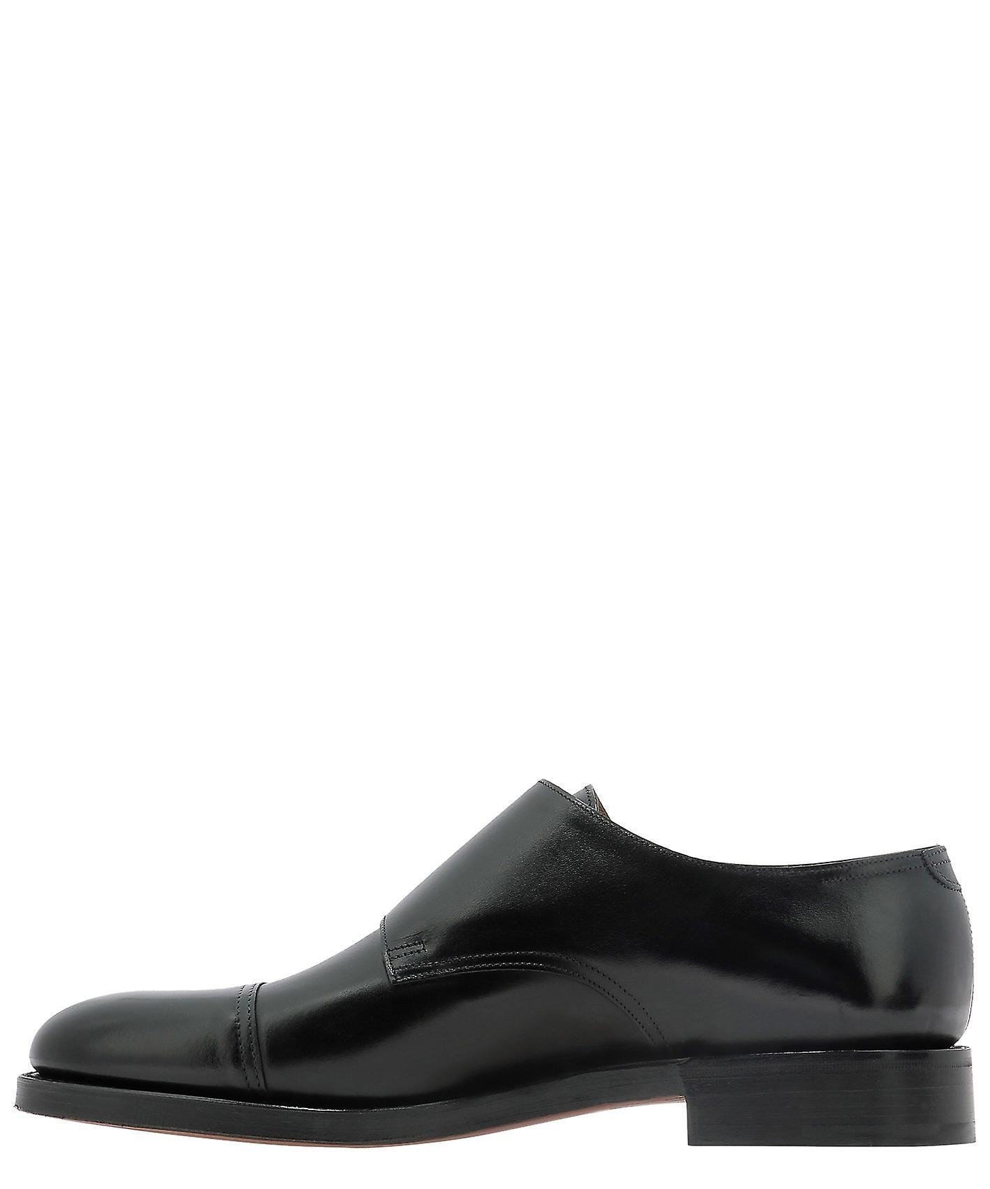 John Lobb 228032lblack1r Men's Black Leather Monk Strap Schoenen - Gratis verzending z2U5EM