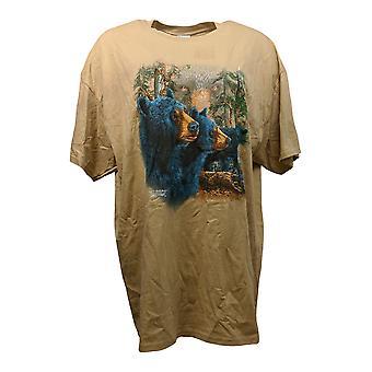 Gildan Women's Top Wildlife Adventure T-Shirt Bear Beige