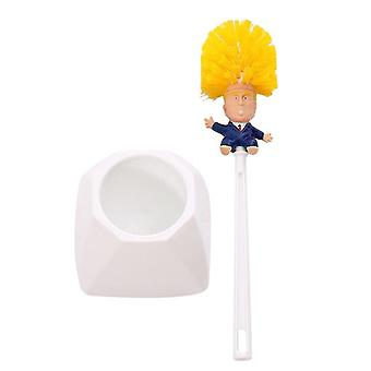 Donald Trump Toilet Brush Cleaner - Scrubber Funny Trump Toilet Bowl Brush Bathroom Wc Cleaning Brush With Holder Set