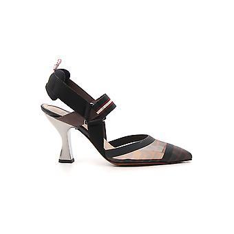 Fendi 8j6851a2d7f1otr Women's Brown Nylon Sandals