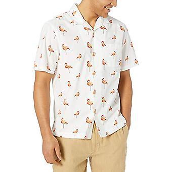 28 Palms Men's Relaxed-Fit 100% Cotton Tropical Hawaiian Shirt, Flamingo Whit...