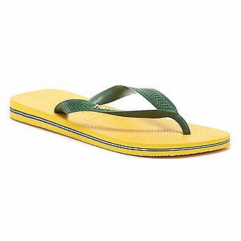 Havaianas Brasil Logo Mens Banana amarelo Flip Flops
