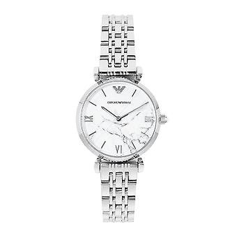 Armani Watches Ar11170 White Marble And Silver Stainless Steel Ladies Watch