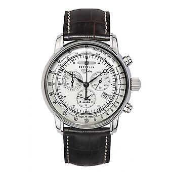 Zeppelin 7680-1 100 Years Silver Tone Dial Chronograph Wristwatch